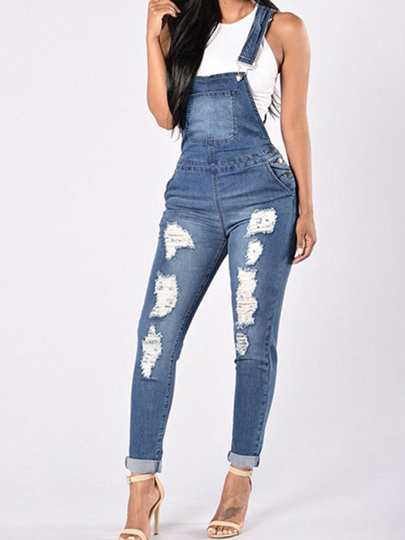 Milanoo Women Overall Jeans Denim Suspender Ripped Pants