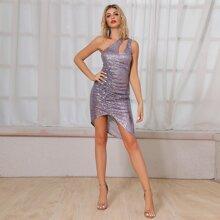 DKRX Kleid mit Ausschnitt, einer Schulter, Ruesche und Pailletten