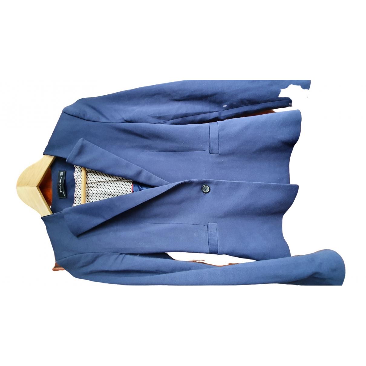Chaqueta en Algodon Azul Zara