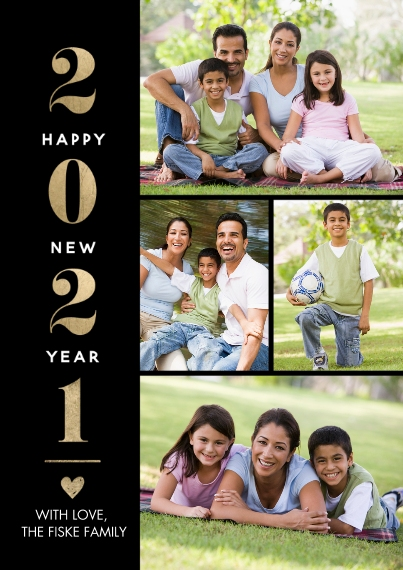 New Years Photo Cards 5x7 Cards, Premium Cardstock 120lb, Card & Stationery -2021 New Year Heart by Tumbalina