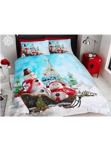 Snowman On the Sled Christmas Bedding 3D Printed 4-Piece Polyester Bedding Sets/Duvet Covers