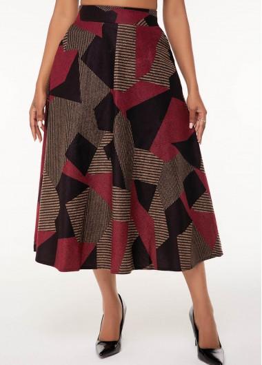 A Line Side Pocket Geometric Print Skirt - XXXL