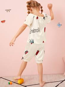 Toddler Girls Satin Fruit And Heart Print PJ Set