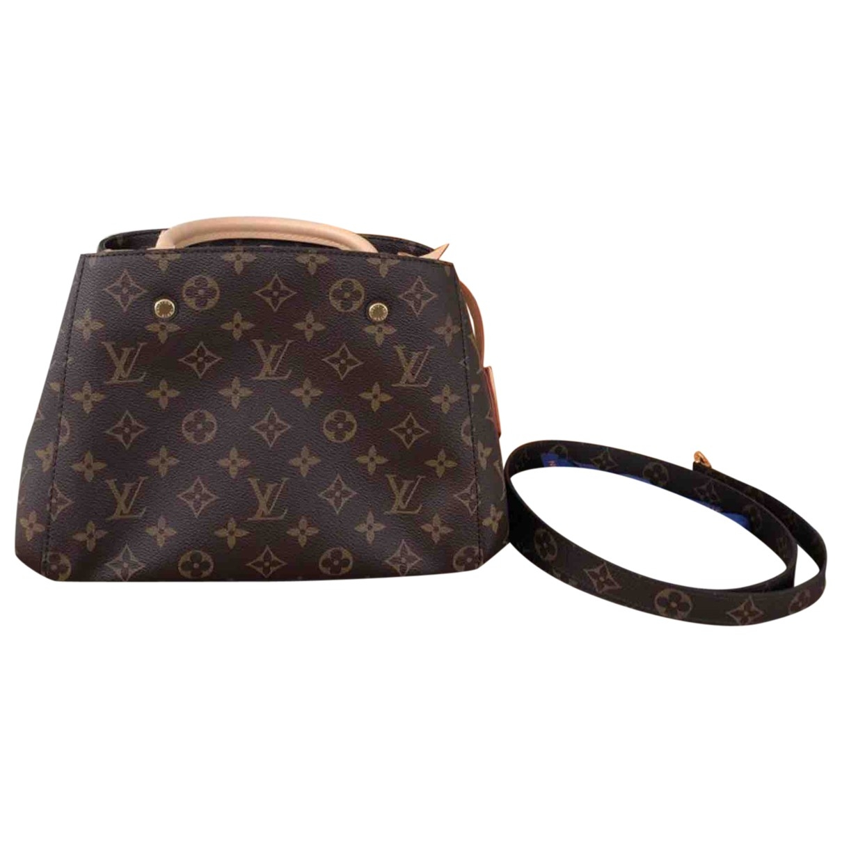 Louis Vuitton Montaigne Handtasche in  Braun Leinen