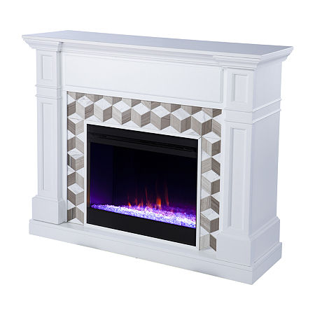 Ofrines Color Changing Fireplace, One Size , White