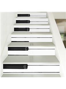 Black and White Piano Keys 6-Piece 3D PVC Waterproof Stair Mural