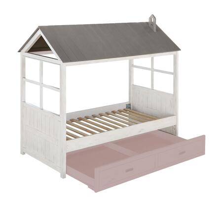 Tree House II Collection 37170T Twin Size Bed with Cottage Design  Beadboard Paneling  Slat System Included and Pine Wood Construction in Weathered