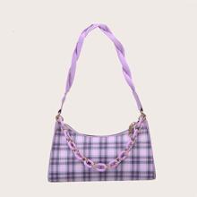 Tartan Chain Baguette Bag