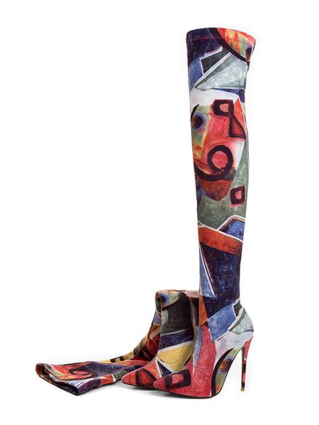 Milanoo Botas sobre la rodilla con pala de spandex naranja con estampado estilo moderno
