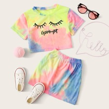 Toddler Girls Tie Dye Slogan Graphic Tee & Skirt