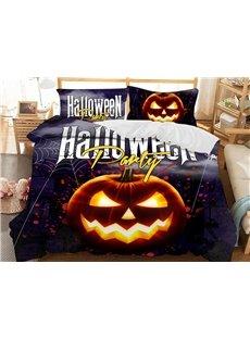 Evil Pumpkin Halloween Theme Soft 3D Printed Polyester 3-Piece Bedding Sets/Duvet Covers