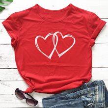 Heart Print Round Neck Tee
