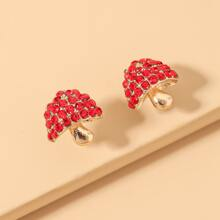 Rhinestone Decor Mushroom Design Stud Earrings