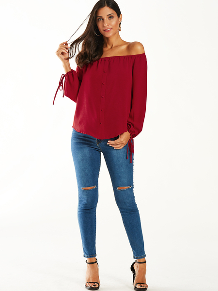 YOINS Red Off Shoulder Tie-up At Cuffs Blouse