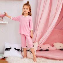 Kleinkind Maedchen Schlafanzug Set mit Kontrast Bindung