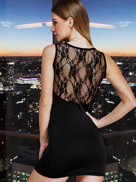 Yoins Black V Neck Lace Hollow Design Sexy Dress