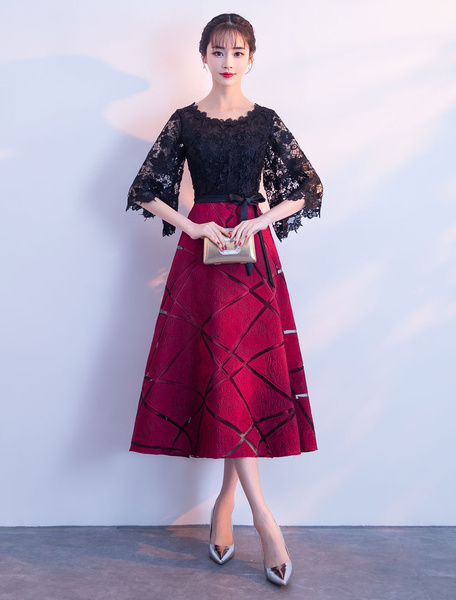 Milanoo Lace Cocktail Dresses Burgundy Short Graduation Dress A Line Half Sleeve Wedding Guest Dress