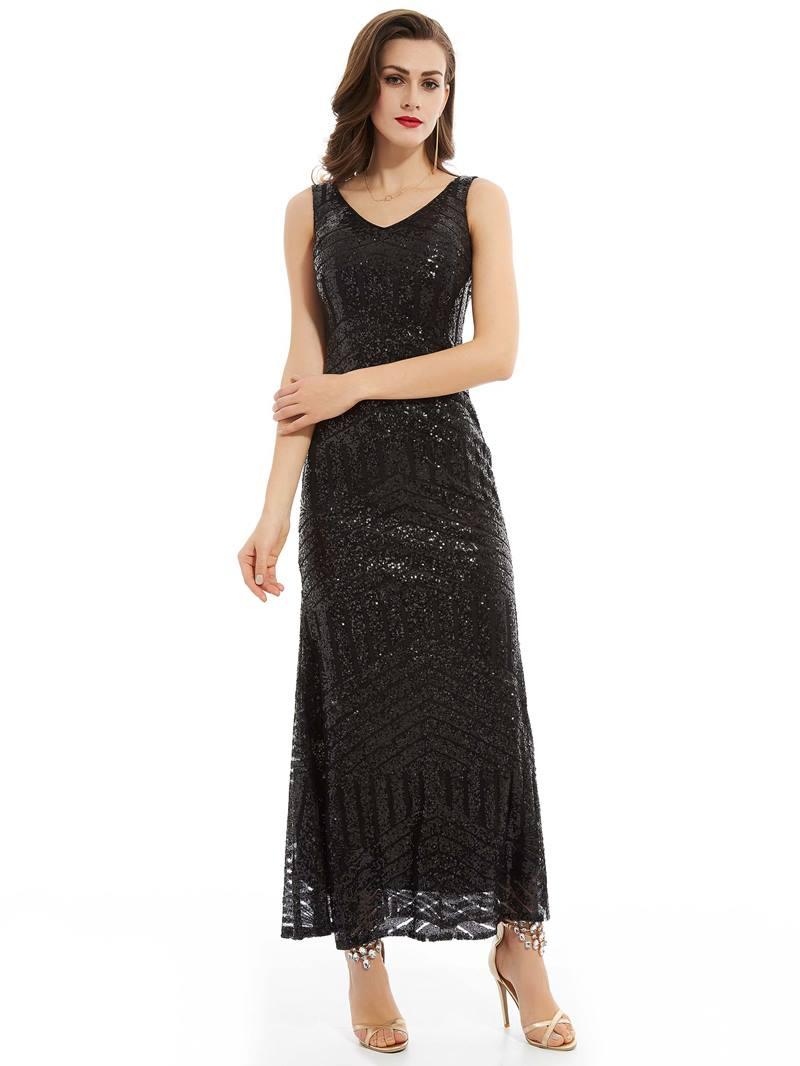 Ericdress V Neck Sequins Ankle-Length Evening Dress