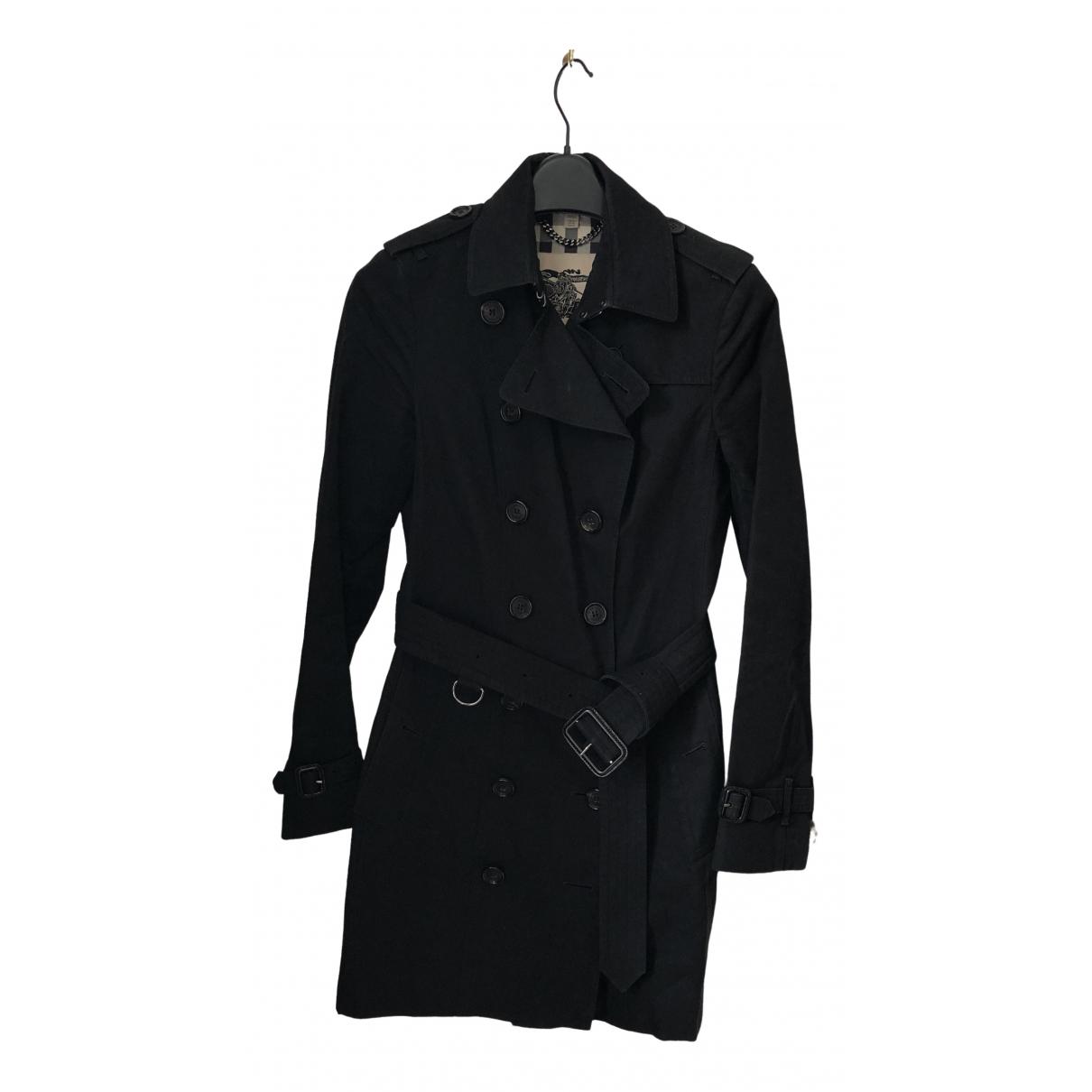 Burberry - Trench   pour femme en coton - noir