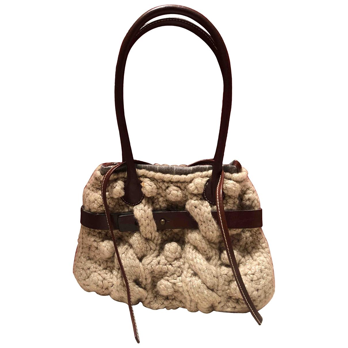 Brunello Cucinelli \N Handtasche in  Beige Wolle