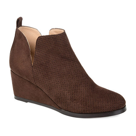 Journee Collection Womens Mylee Booties Wedge Heel, 11 Medium, Brown