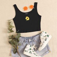 Strick Tank Top mit Sonnenblumen Stickereien