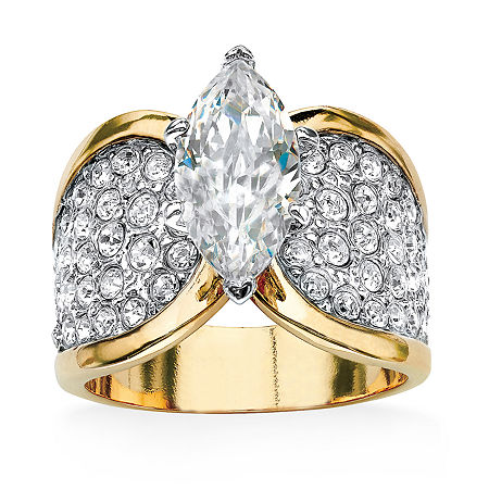 Womens 2 1/2 CT. T.W. White Cubic Zirconia 14K Gold Over Brass Cocktail Ring, 11 , No Color Family