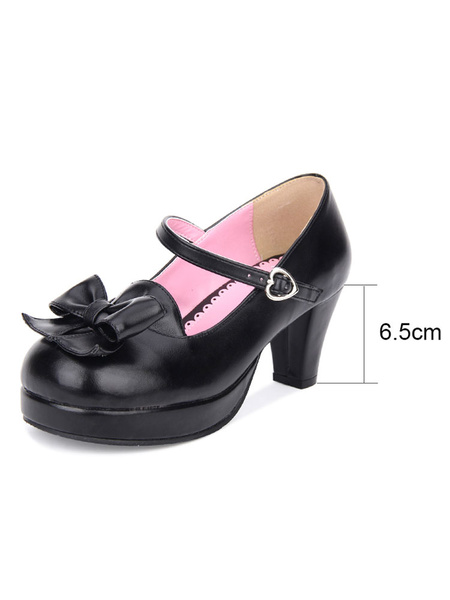 Milanoo Sweet Lolita Pumps Bow Platform PU Black Lolita Mary Jane Shoes