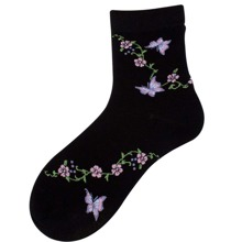 Butterfly & Floral Crew Socks