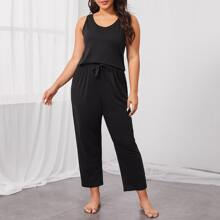 Plus Solid Tank & Pants Pajama Set