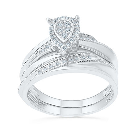 Womens 1/5 CT. T.W. Genuine White Diamond Sterling Silver Bridal Set, 6 , No Color Family