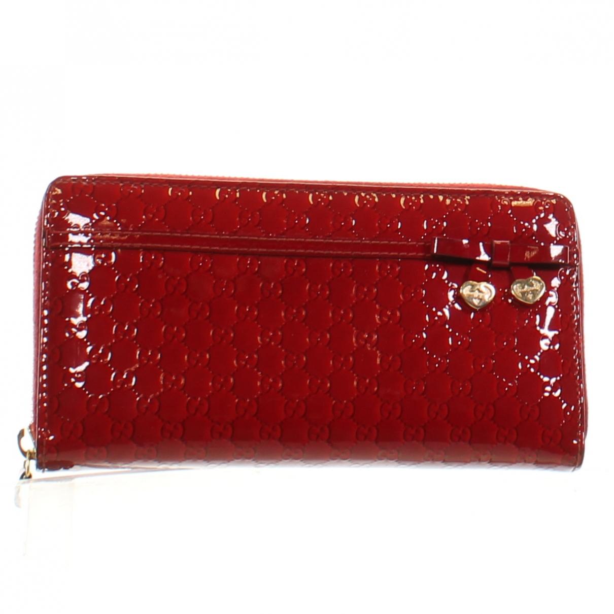 Gucci - Portefeuille   pour femme en cuir verni - rouge
