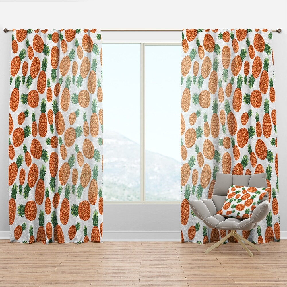 Designart 'Pineapples Fruit Pattern' Tropical Curtain Panel (50 in. wide x 95 in. high - 1 Panel)