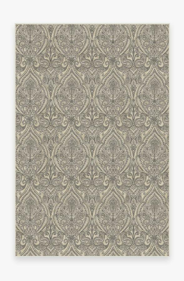 Washable Rug Cover & Pad   Lacis Damask Black & Ivory Rug   Stain-Resistant   Ruggable   6x9