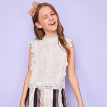 Girls Mock-Neck Buttoned Back Guipure Lace Trim Top