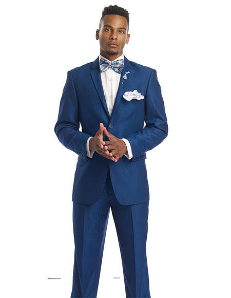 Men's Single Royal Cobalt 2 Button Notch lapel Suit