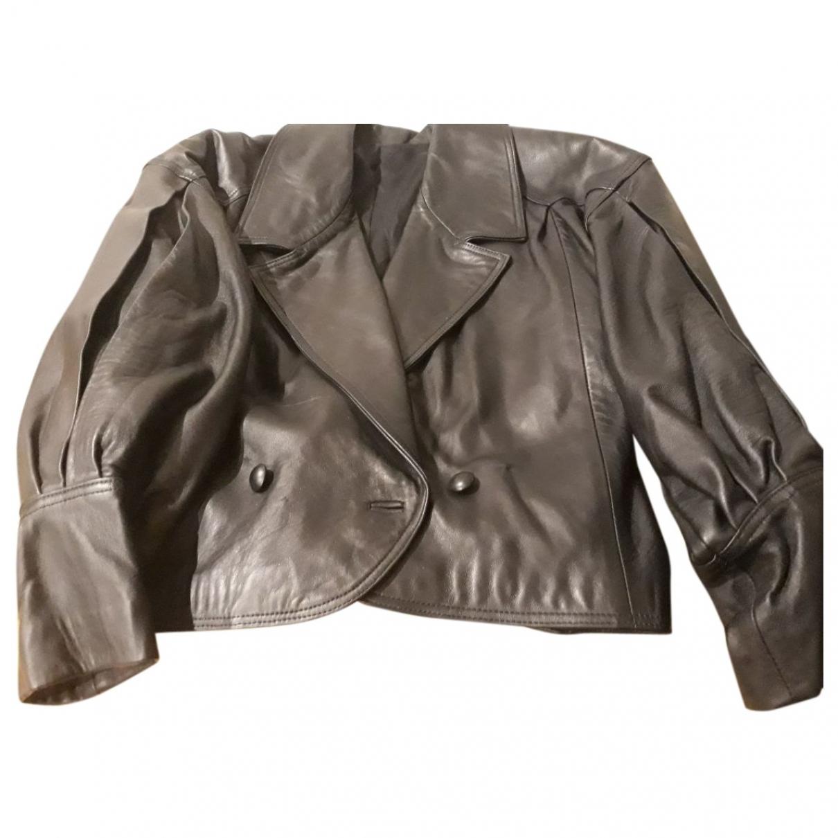 - Vetements   pour femme en cuir - noir
