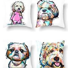 1pc Dog Print Cushion Cover Without Filler