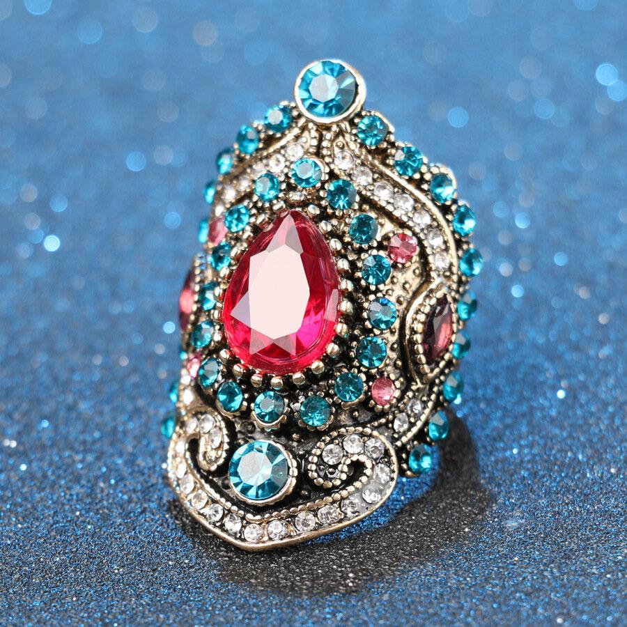 Vintage Geometric Water Drop Pink Rhinestone Rings Metal Blue Crystal Inlaid Finger Ring