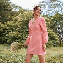 Flocked Polka Dot Bustier A-Line Dress