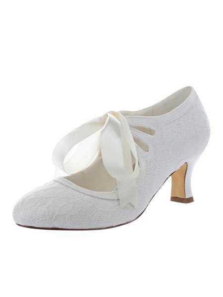 Milanoo Zapatos de novia de encaje 5.5cm Zapatos de Fiesta Zapatos marfil  de tacon gordo Zapatos de boda de puntera redonda