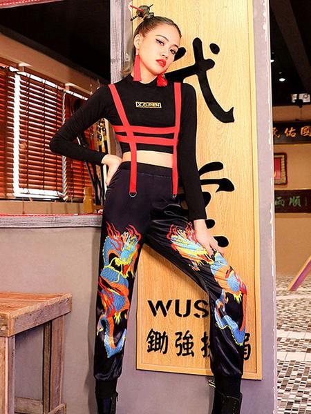 Milanoo Trajes de baile de jazz Pantalones superiores de estilo chino Ropa de baile