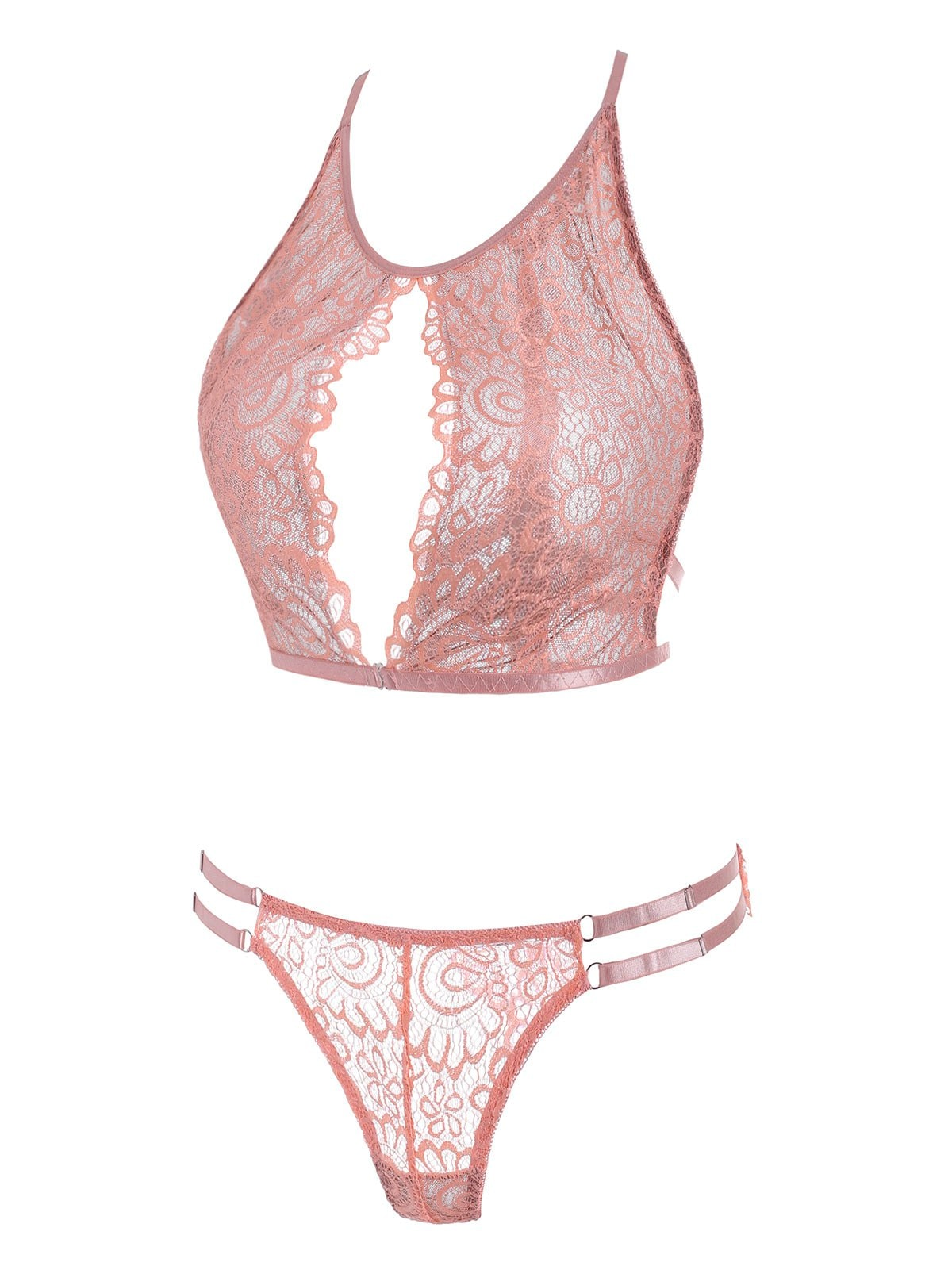 Plus Size Lace Straps Cutout Sheer Lingerie Bralette Set