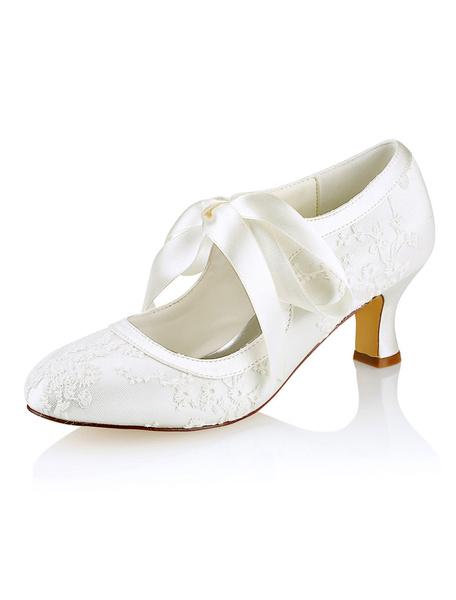 Milanoo Zapatos de novia de seda sintetica 5.5cm Zapatos de Fiesta Zapatos marfil  de tacon gordo Zapatos de boda de puntera redonda con cinta