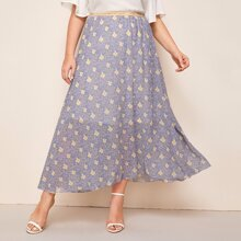 Plus Allover Floral Long Skirt