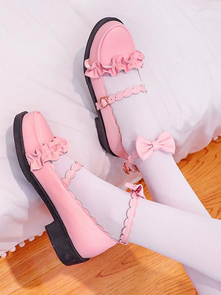 Milanoo Sweet Lolita Footwear Bows Ruffles Punta redonda Zapatos de Lolita de cuero PU