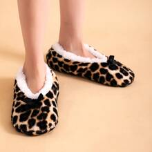 Bow Decor Leopard Fluffy Slippers