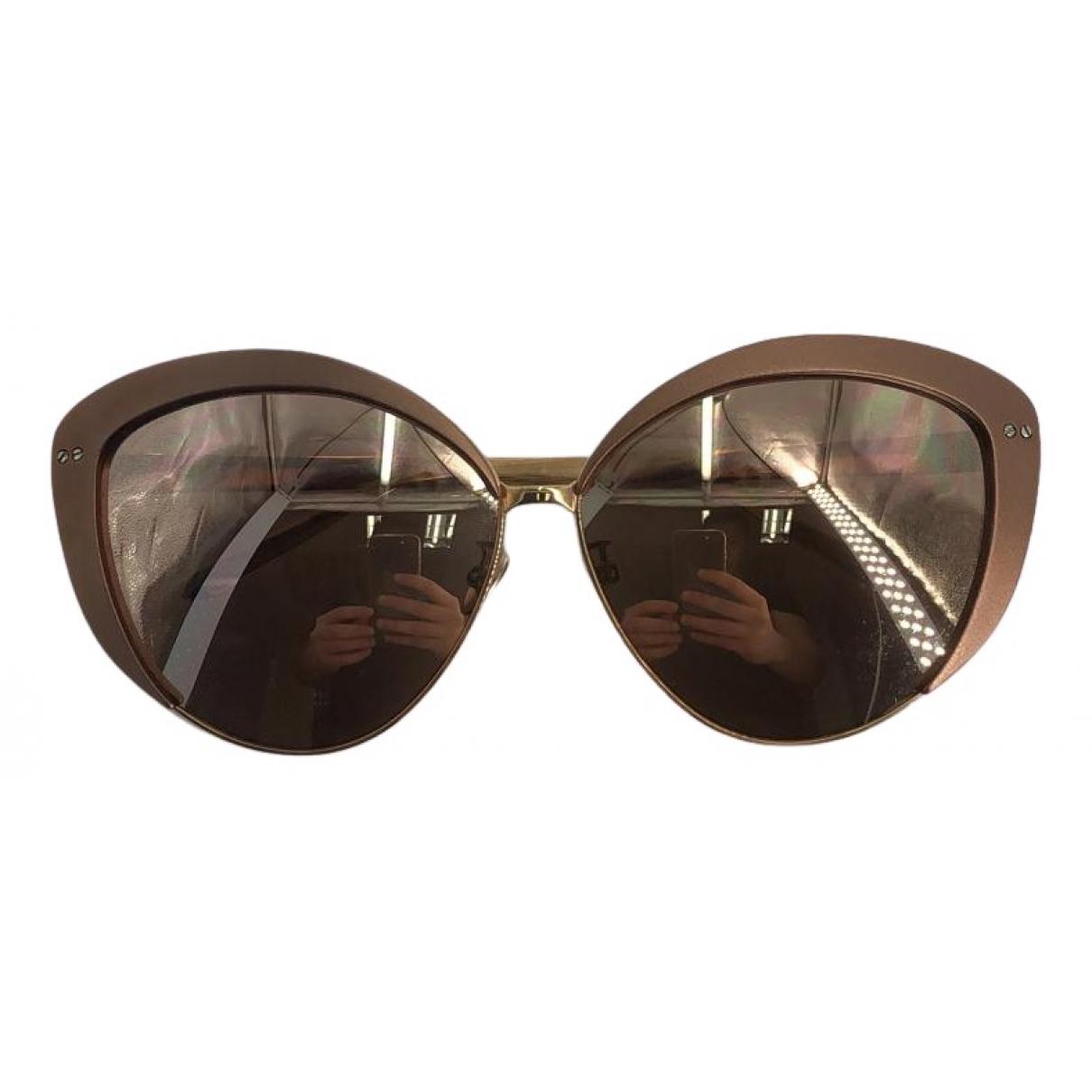 Linda Farrow N Brown Metal Sunglasses for Women N