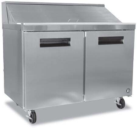 CRMR48-12 48 ETL Listed Commercial Series Sandwich Refrigerator Prep Table With 13.66 cu. ft. Capacity  Stepped Door Design  Prep Table  2 Doors