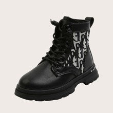 Girls Letter Graphic Combat Boots